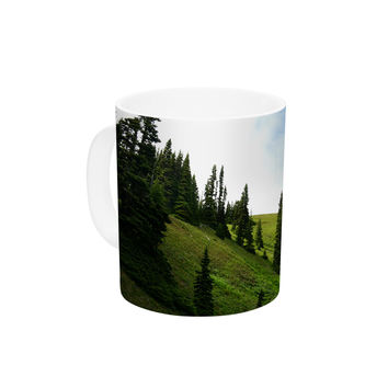 "Robin Dickinson ""Going to the Mountains"" Green Blue Ceramic Coffee Mug"