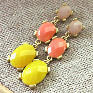 NEW post earrings - lovely post with yellow, orange and cream colors - LAST PAIR