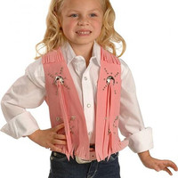 Kids Girls Pink Faux Suede Cowgirl Vest