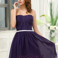 Custom Handmade Beautiful A Line Purple Pleated Sash Chiffon Formal Short Evening/Prom/Party/Bridesmaid/Homecoming/Cocktail Dress Gown