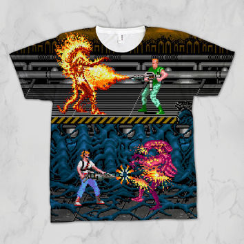 Aliens Ripley Hicks Xenomorph Unisex Video Game Sublimation T-shirt