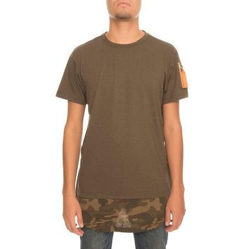 The Bomber Camo Elongated Tee in Olive Camo