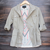 olive cargo jacket with tribal print design back