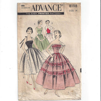 Advance 8198 Pattern for Teen Dress, Bolero, From 1950s, Vintage Pattern, Home Sewing Pattern, Easy Printed Pattern, Party Prom Formal Dress