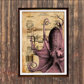 Octopus poster Patent print Sealife print Steampunk decor SOL201