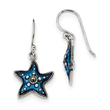 Sterling Silver Antiqued Blue Epoxy & Marcasite Star Dangle Earrings QE13458