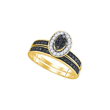 10k Yellow Gold Black Colored Diamond Womens Cluster Wedding Bridal Engagement Ring Band Set 1/2 Cttw 89466