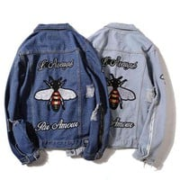 GUCCI Fashion Bee Tiger Embroidery Distressed Denim Cardigan Jacket Coat