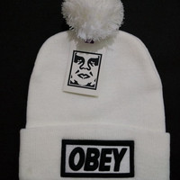 Obey Women Men Embroidery Beanies Knit Wool Hat Cap