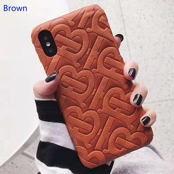 Burberry Fashion New More Letter Leather Women Men Protective Cover Phone Case Brown