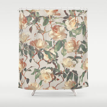 Soft Vintage Rose Pattern Shower Curtain by Micklyn