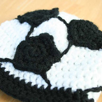 Soccer Hat for babies and toddlers, Baby Soccer Beanie, Baby soccer hat, toddler soccer cap, crochet soccer ball