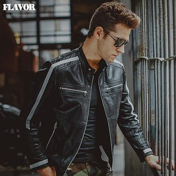 Men's motorcycle Genuine Leather jacket real leather jackets biker jacket winter coat