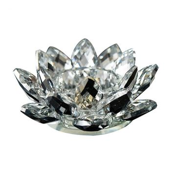 Crystal Glass Lotus Flower Candle Tea Light Holder