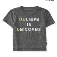 Aeropostale Womens Unicorns Crop Graphic T-Shirt - Blue,