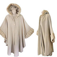 Vintage Hooded Poncho Women Cape Coat Tan Poncho Winter Poncho Faux Fur Poncho Cape Women Wool Poncho Women Tan Wool Coat Winter Cape Coat