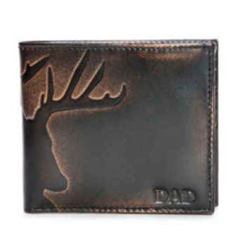 DEER Bifold - Slightly IMPERFECT - Embossed Men's Leather Wallet - PERSONALIZED Men's Wallet - Deer Hunting Wallet - Men's Gifts