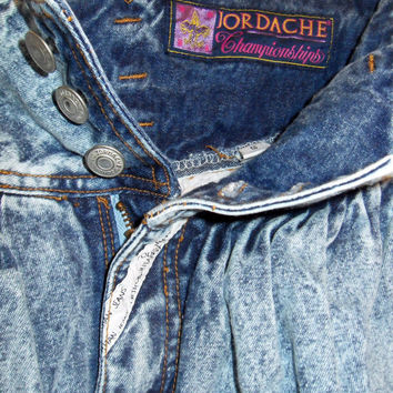 80s Jeans, Vintage Jordache Acid Wash Jeans with High Waist Pleats and Tapered Leg Size 5