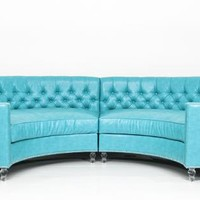 Circle Sectional in Turquoise Faux Leather