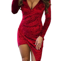 Red Crushed Velvet Asymmetric Wrap Bodycon Dress