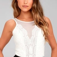 Cali Cantina White Lace Bodysuit