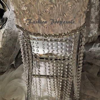 2 Satin Rosette and Crystal Chiavari chair cap, hood chair cover. Our beautiful Rosette and acrylic crystal and rhinestone.