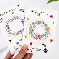 4 pcs/Lot Floral's wreath sticky notes 30 sheets Watercolor flower memo pad Mini bookmark Stationery Office School supplies F424