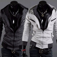 Double Zip Design Slim Fit Men Fashion Hoodie Jacket SOS