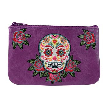 Rockabilly Rose & Sugar Skull Embroidered Small Flat Pouch
