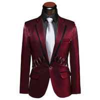 Elegant Male Custom Prom Brand Tuxedo Wedding Slim Fit Suits For Men Business Mens Fashion Classic Coat Blazer Red J222