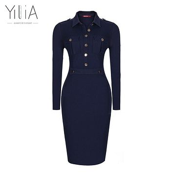 Navy Blue Dress Women Long Sleeve Vintage Formal Office Dress Slim Plus Size Bodycon Midi Button Pocket Dress 2016 Ladies Solid