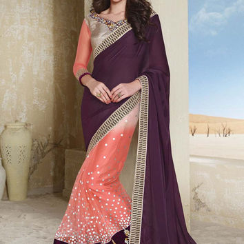 Purple Velvet Designer Saree