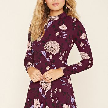 Tie-Neck Floral Skater Dress