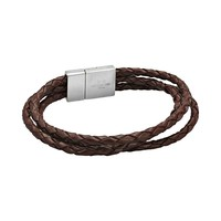 Stainless Steel & Brown Leather Rope Bracelet - Men
