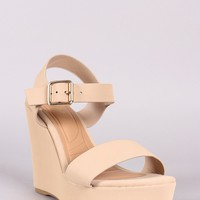 Bamboo Nubuck Buckle Ankle Strap Platform Wedge