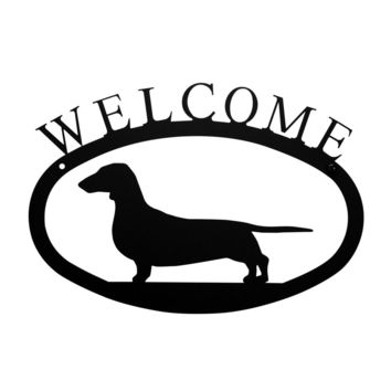 Wrought Iron Dachshund Dog Welcome Home Sign Small