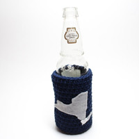 New York Beer Koozie, State Accessories, Coffee Cozy, Crochet Bottle Cozy, Can Koozie, Yankees, Navy Blue & Gray Travel Drink Holder