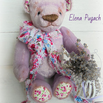Big sale! Lavender teddy bear 13.4 inches - 34cm Stuffed bear Gift for her OOAK Artist teddy bear
