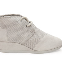 TOMS Light Grey Suede and Canvas Youth Desert Wedges Grey