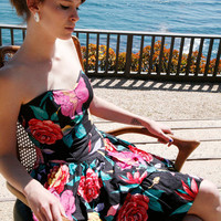 Black floral 80's strapless dress by grannycouture on Etsy