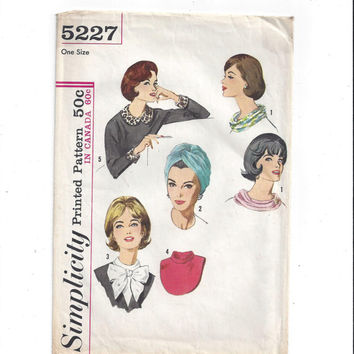Simplicity 5227 Pattern for Misses' Accessory Pac, Ring Scarf, Collar, Cuffs, Dickey, Turban, From 1963, Vintage Pattern, Home Sewing, 1963