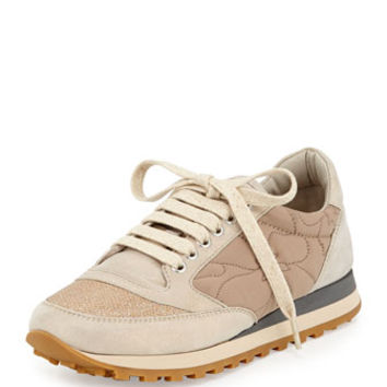 Brunello Cucinelli Metallic Lace-Up Sneaker, Cream