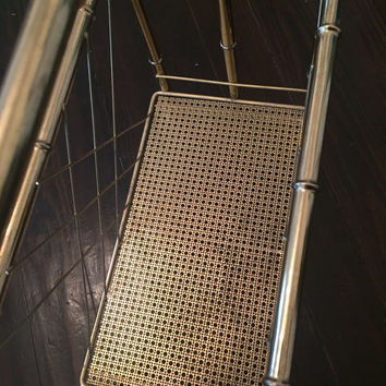 Vintage Hollywood Regency Chinoserie Gold Faux Bamboo Magazine Rack