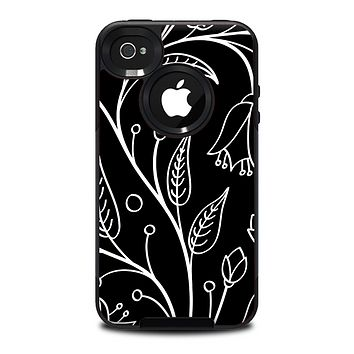 The Black and White Vector Branches Skin for the iPhone 4-4s OtterBox Commuter Case