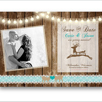 Coral Save the Date rustic deer woodland christmas style country hunting wood barn lace lights photo invitation