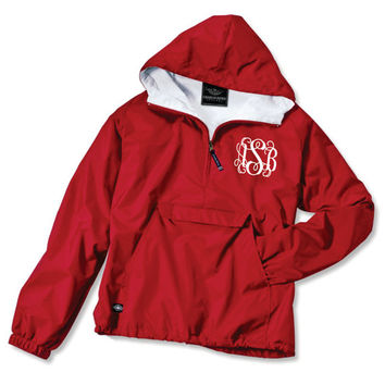 Youth Red Monogrammed Personalized Half Zip Rain Jacket Pullover by Charles River Apparel