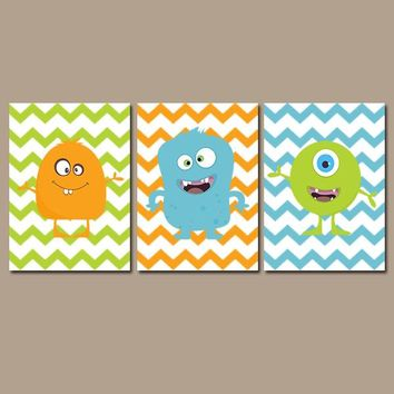 MONSTER Wall Art, CANVAS or Prints, Monsters Theme, Monster Wall Decor, Blue Green Orange, Chevron Set of 3, Monster Boy Bedroom Decor