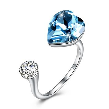Sapphire Heart Shaped Adjustable Ring 925 Sterling Silver Unique Casual Rings