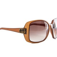 Authentic Gucci oversized square brown ladies sunglasses