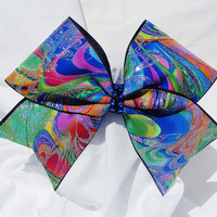Cheer bow- Rainbow colored with glitter swirls bow. cheerbow- cheerelading bow- cheerleader bow- dance bow- softball bow
